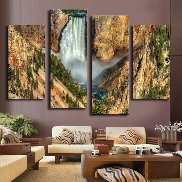 4 Piece Lower Yellowstone Falls Wall Paintings For Home Decor Idea Oil Painting Art Print On Canvas No Framed