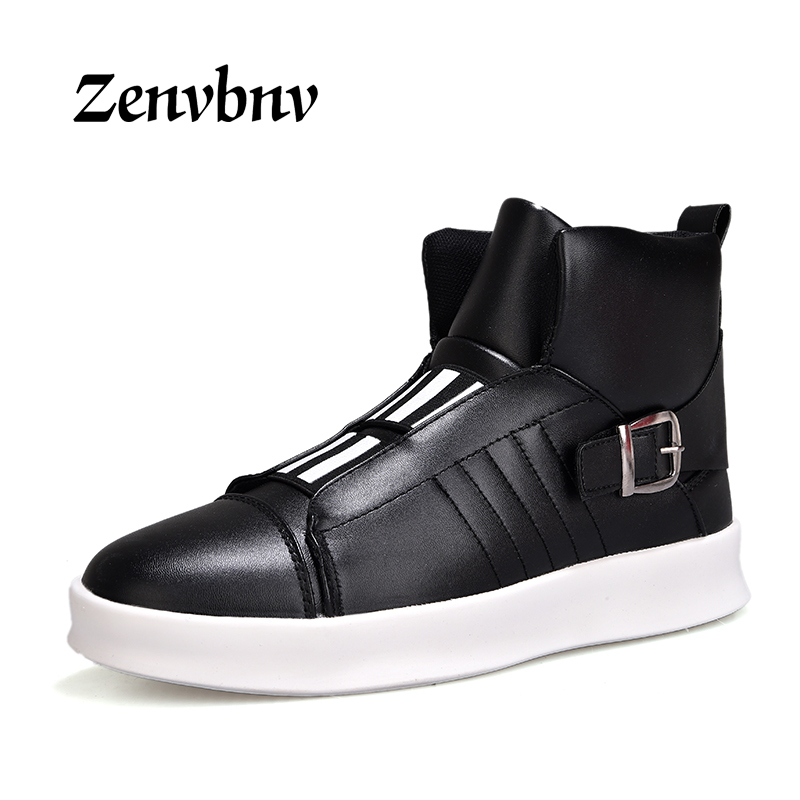 ZENVBNV 2018 New Luxury Mens Casual Shoes Flat shoes Autumn Comfortable Hip Hop High Top Flat Shoes PU Leather Shoes Size:39-44 2017 new arrival spring men casual shoes mens trainers breathable mesh shoes male hombre hip hop street shoes high quality