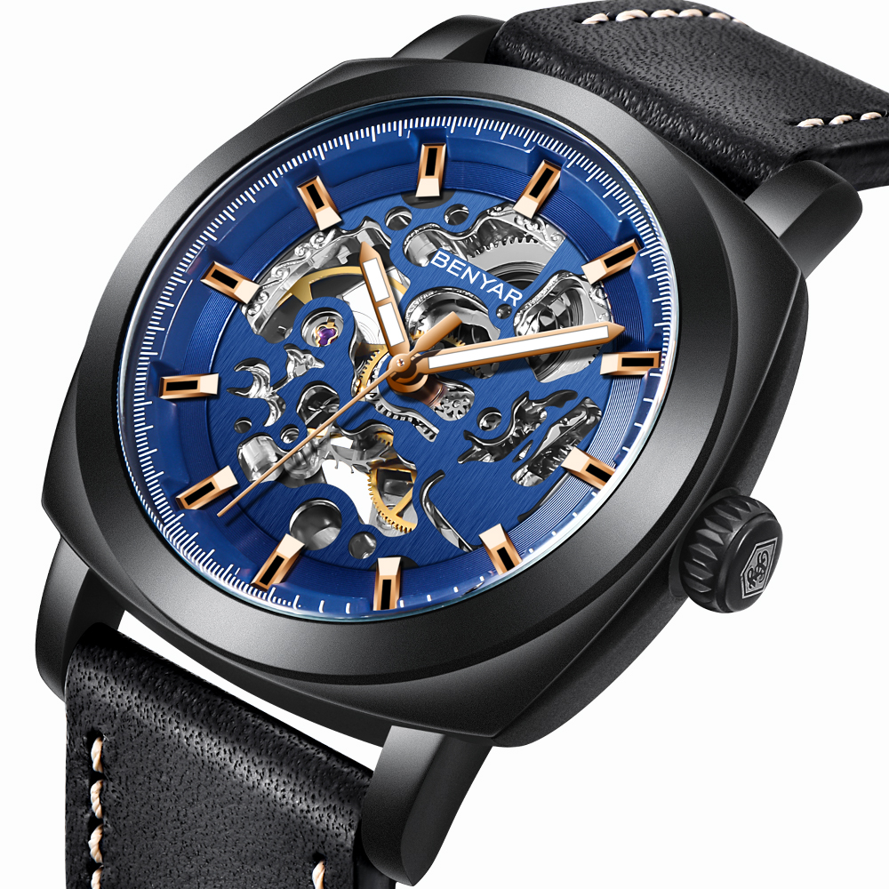 Mechanical Hollow Watch Waterproof Skeleton Wrist Watch Leather Clock Man Relogio