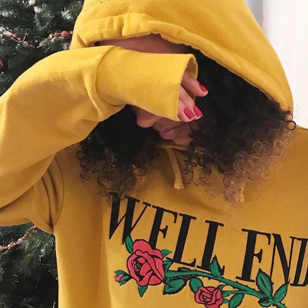 Harajuku печать розы Вышивка Цветы Женская толстовка 2019 корейский kpop осень зима женские толстовки Элегантный Хип Хоп пуловер