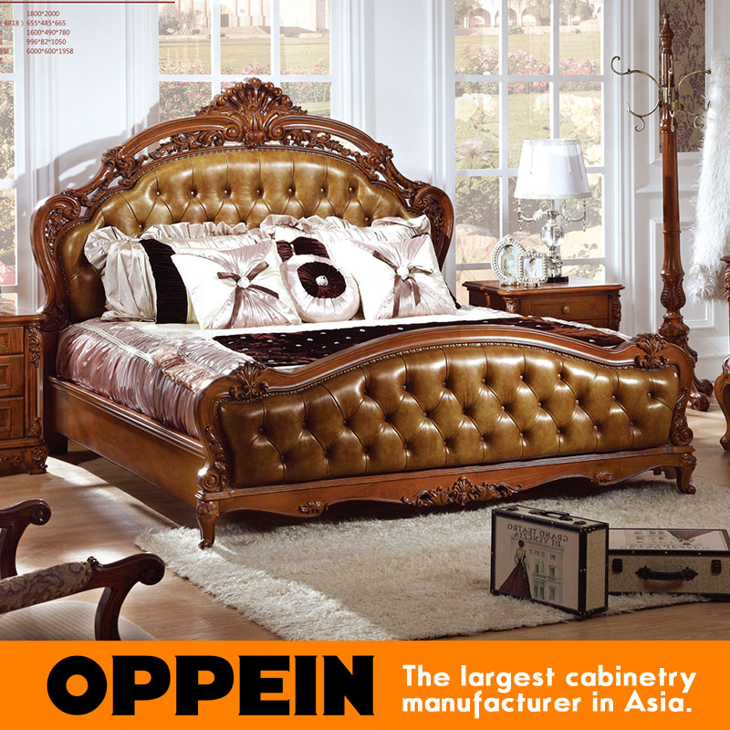 Luxury traditional bed with solid wood frame bedroom for China furniture bed