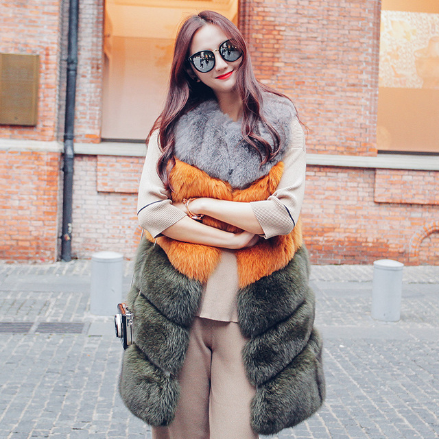 Women's clothes Winter 2016 Fox Fur Coat Long Section Thick Warm Fur Sleeveless Vest O-Neck Contrast Color  GSJ199