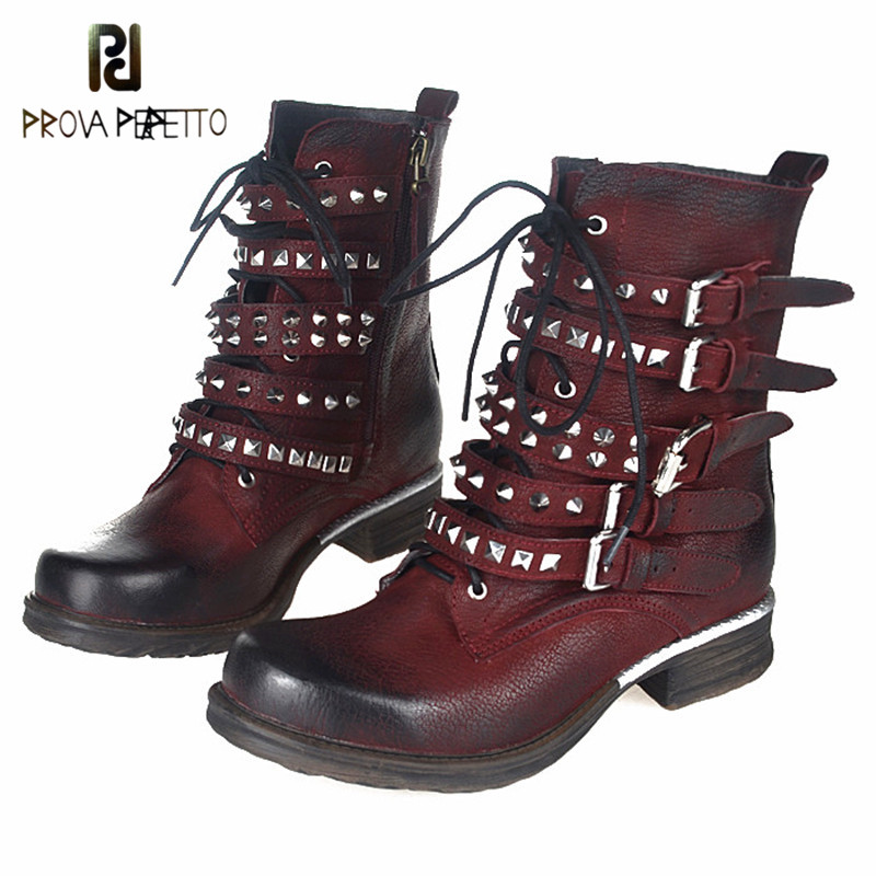 Prova Perfetto Hot Style Selling Smooth Wax Cowhide Leather Casual Ankle Boots Antique Retro Belt Buckle Color Matching ShoesProva Perfetto Hot Style Selling Smooth Wax Cowhide Leather Casual Ankle Boots Antique Retro Belt Buckle Color Matching Shoes