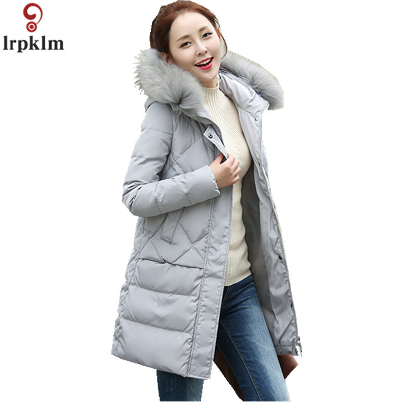 Women Winter Jacket White Duck   Down     Coats   Hooded Fur Collar Parka Women   Coat   And Jacket Long Loose Clothes Female 2018 AS04
