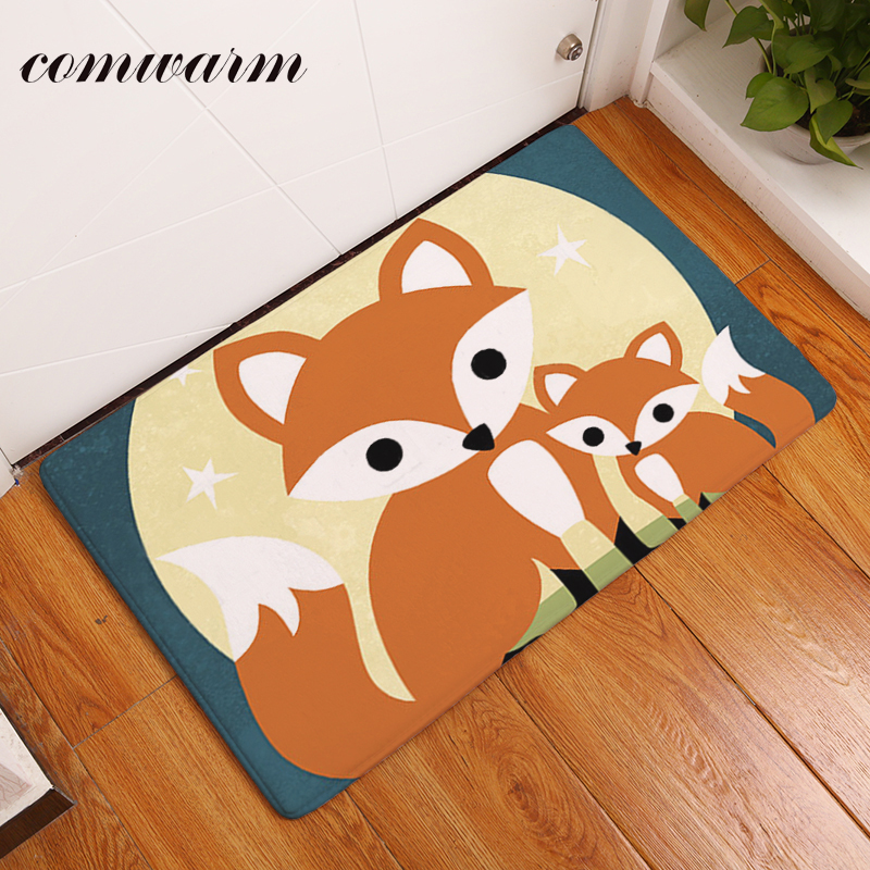 Comwarm Durable Water Absorption Entrance Door Mats Cozy Fox Family Pattern Rugs For Children