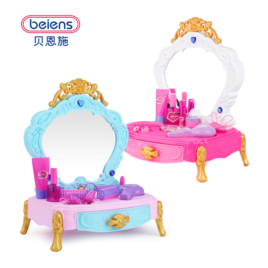 Beiens 13pcs Pretend Play Toys Children Makeup Set Hairdressing Make Up Kids Girls Simulation Toy Plastic Toy Dressing Table Toy beiens furniture doll 19 pcs children kids baby girl s cute lovely toy fashion makeup chair make up table set dresser