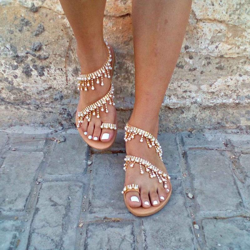 NAN JIU MOUNTAIN Shoes Woman Summer Sandals Roman Pearl Handmade Beaded Flat Women 39 s Shoes Large Size 34 43 in Women 39 s Sandals from Shoes