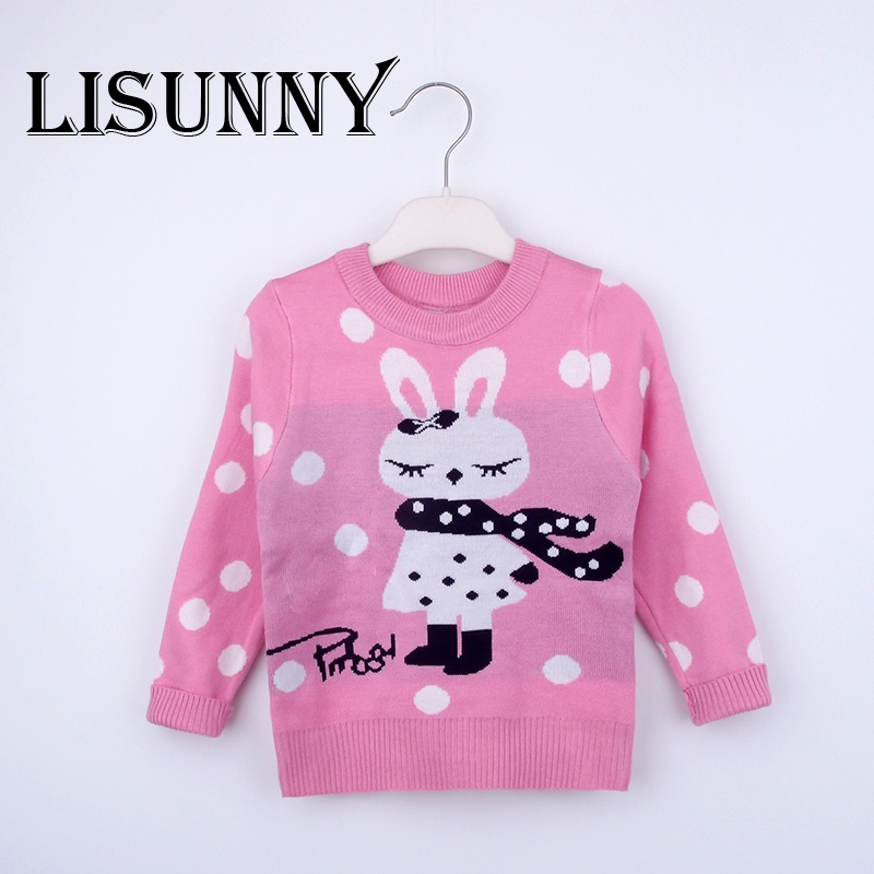 dfab5fed2 2019 Autumn Winter New Girls Cartoon bunny Sweater Kids Cotton Dots ...