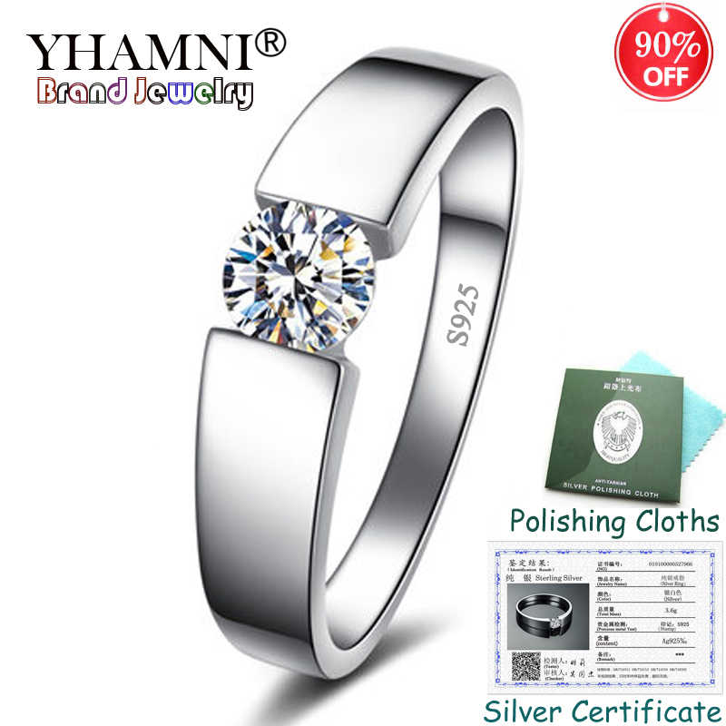 Sent Certificate! 100% Solid 925 Silver Rings Round Solitaire CZ Zircon Wedding Rings Fashion Jewelry for Women and Men KPRD10