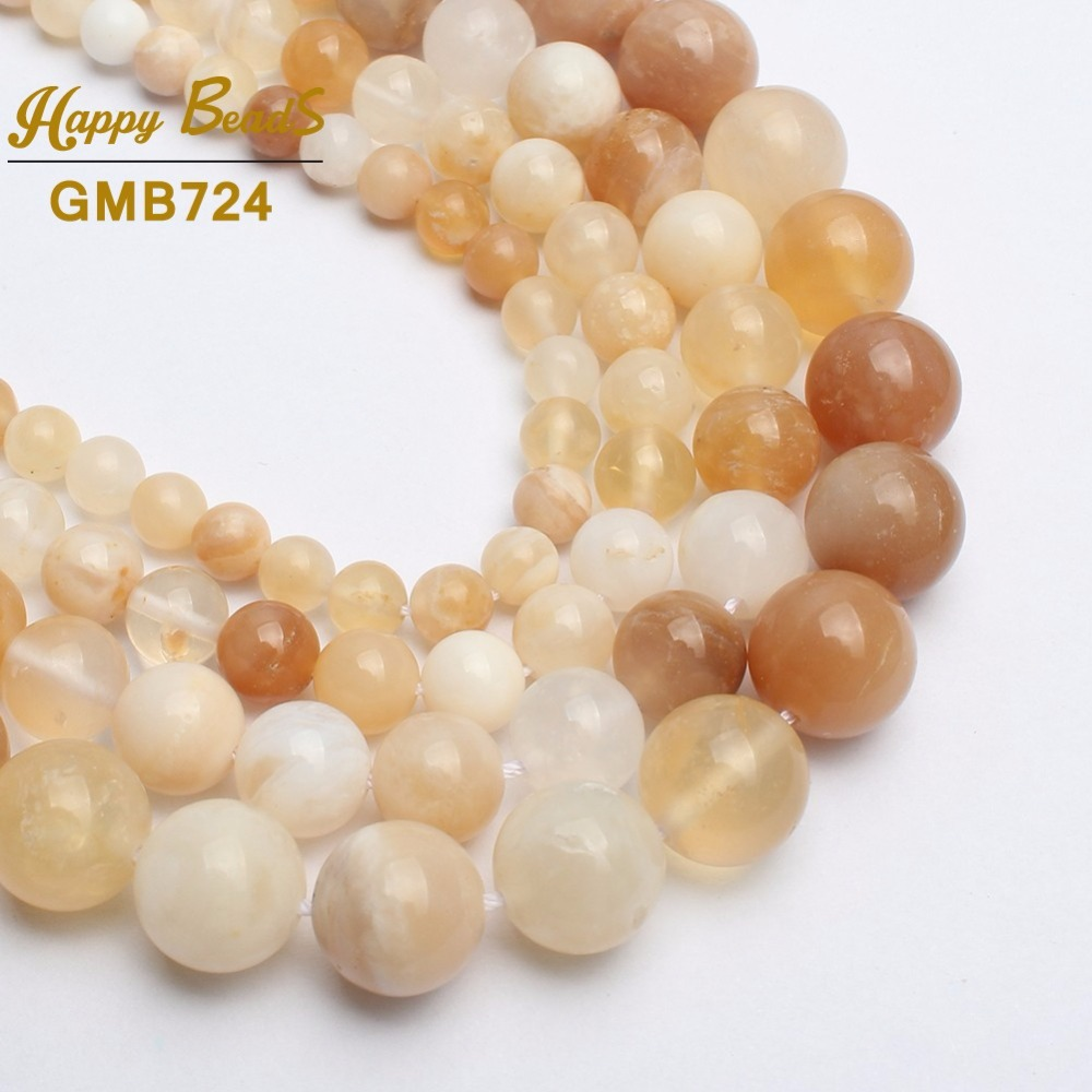 Natural Stone Beads Yellow opal Round Loose Beads For Jewelry Making DIY Bracelet Necklace Jewellery 6/8/10/12mm 15inches-F01225