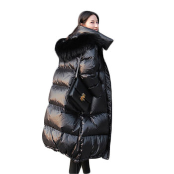 2019 New Korean Version of Loose Blcke  Shiny Large Fur Collar Down Jacket Thickened Over the Knee in the Long Down Jacket 774