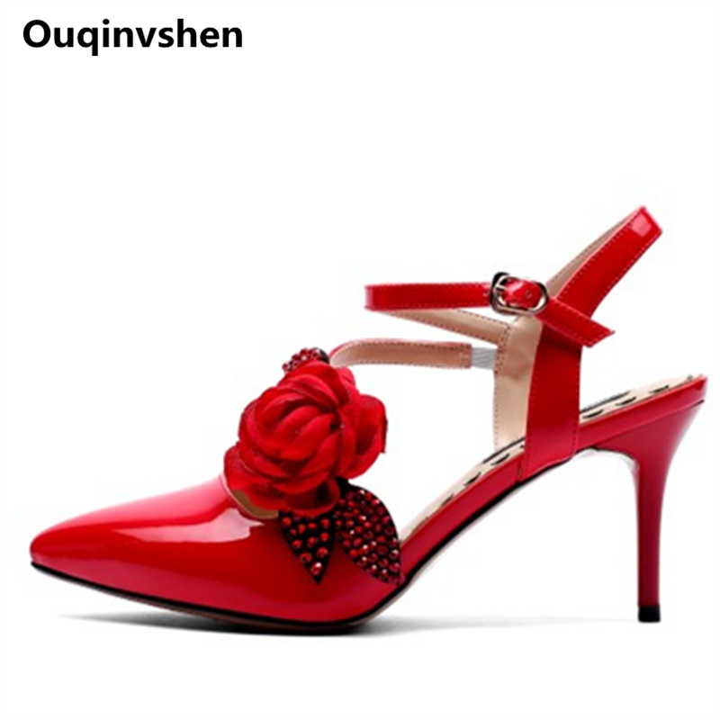 Ouqinvshen Flower Bridal Shoes Pointed Toe Buckle Strap Red Thin Heels Woman Sandals 2018 Summer Fashion Craft Pumps Women Shoes xiaying smile summer woman sandals square cover heel woman pumps buckle strap fashion casual flower flock student women shoes