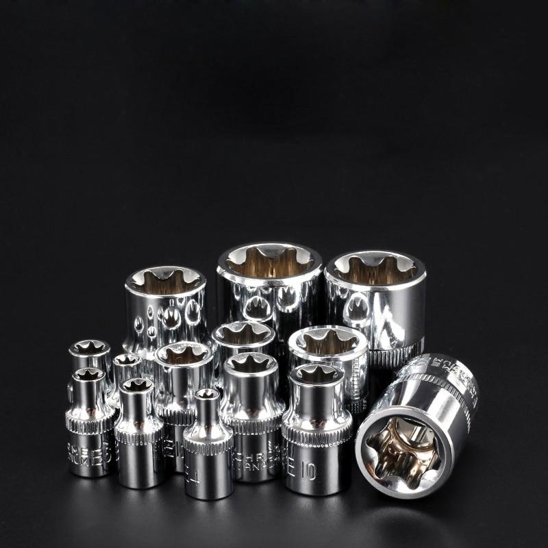 14 Pcs/set 1/4&3/8&1/2 E4-E24 Torx Socket Wrench Head CR-V E-type Hexagonal Spanner Allen Head Auto Repair Tools14 Pcs/set 1/4&3/8&1/2 E4-E24 Torx Socket Wrench Head CR-V E-type Hexagonal Spanner Allen Head Auto Repair Tools