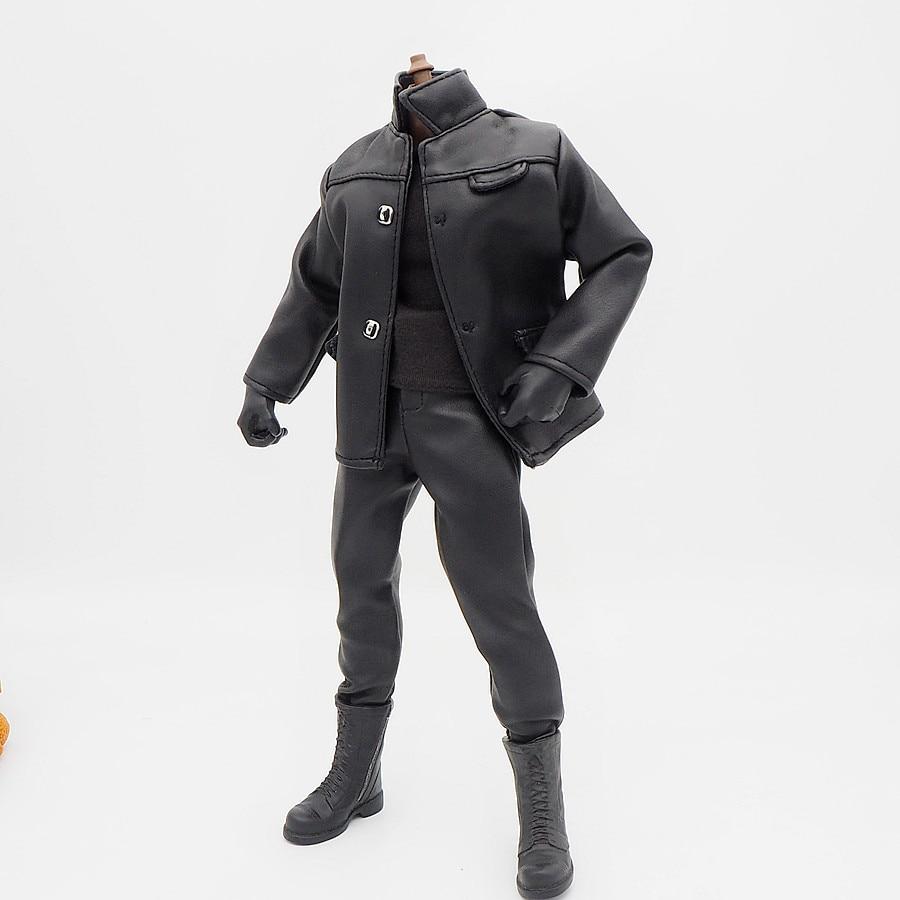1/6 Scale Accessories Female Clothes Black Leather Coat Set Uniforms For 12