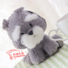 10 pieces a lot cute plush dog toys lovely small Schnauzer dolls gift about 15cm 393