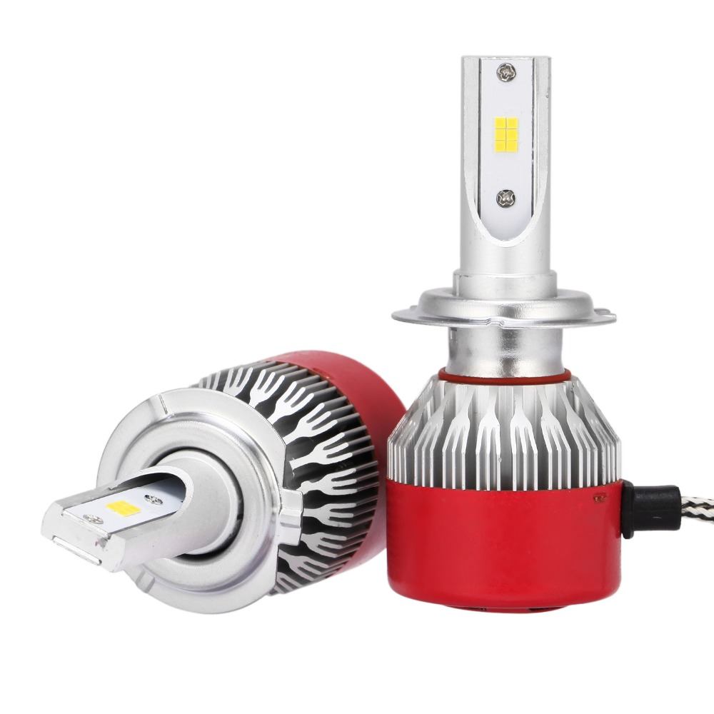 H7 Headight Bulbs 6500K CSP CREE Chips Auto LED Xenon Conversion Bulb Kit High Beam Light Low Beam Light 72W 7200LM All-in-one