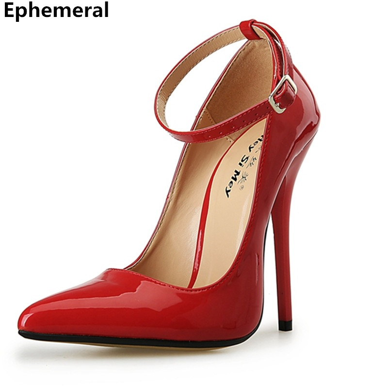 Ladies High Heel Sandals Women Sexy 2017 Patent leather Extreme Heels Pumps For Nigh Club Party Black Red Sandalias Big Size 45 luxury brand crystal patent leather sandals women high heels thick heel women shoes with heels wedding shoes ladies silver pumps