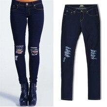 Женская мода дизайн джинсы отверстие ковбой карандаш брюки Новые женские вскользь Уменьшают Джинсы стрейч большой размер