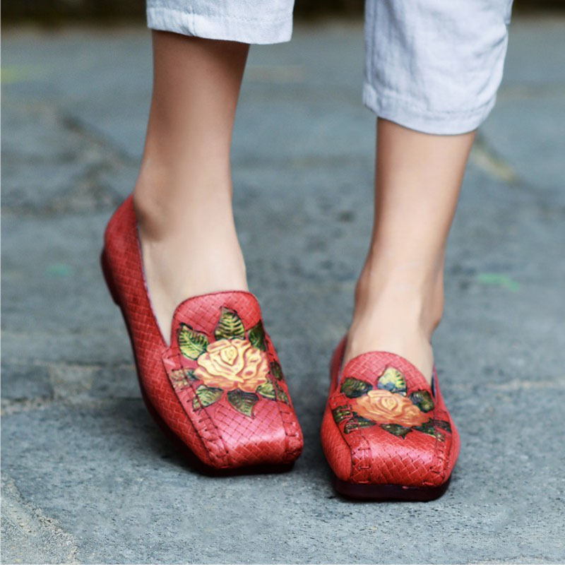 orange Rouge Cuir vin En Fleur Confortable Ethnique De Avec Plat Casual Gris Rétro Et Simples fait Femmes Femmes Fond Main Chaussures UqRx4w1xp