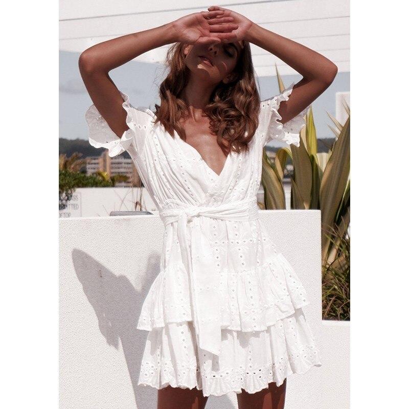 Women White Summer Dress 2019 Hollow Out Ruffles Boho Beach Dresses Ladies Short Sleeve Warp A Line Mini Dress Short Summer in Dresses from Women 39 s Clothing