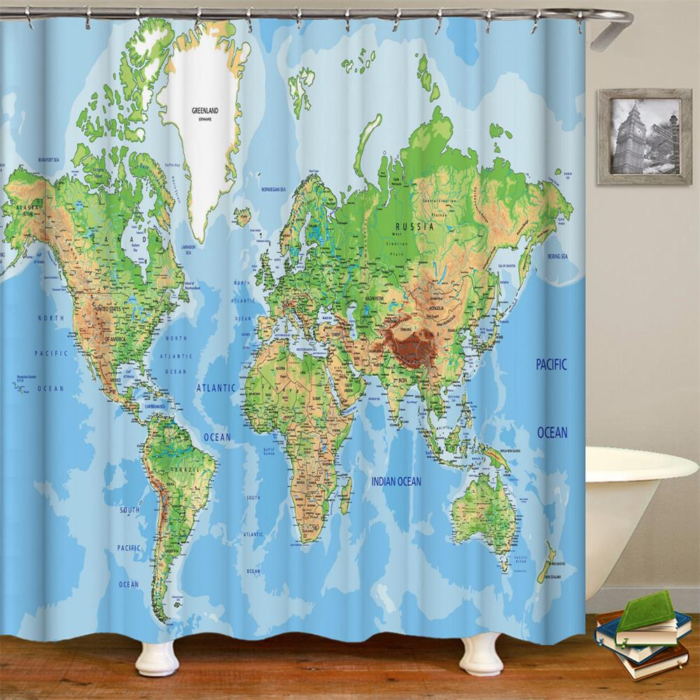 World Map Shower Curtain for Educational Geographical Earth at Home Decor Waterproof Fabric Polyester Bathroom Shower