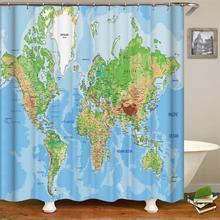 Карта мира занавеска для душа для образовательной географической земли на домашнем штора для ванной шторка для ванной