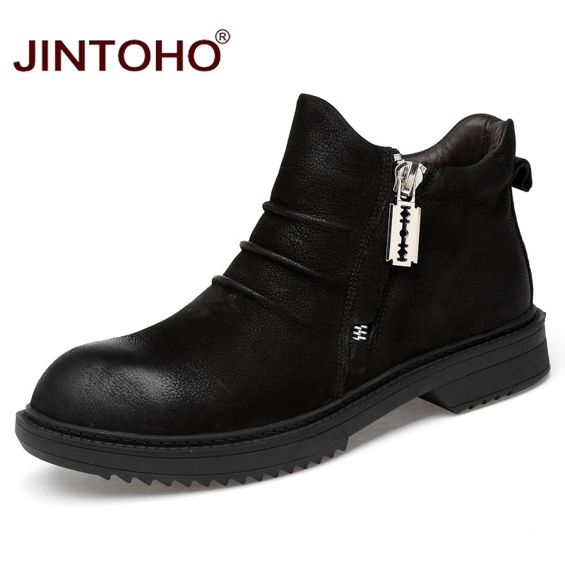 JINTOHO High Quality Genuine Leather Men Boots Fashion brand Men Genuine Leather Shoes Luxury Male Leather Boots Bota Masculina