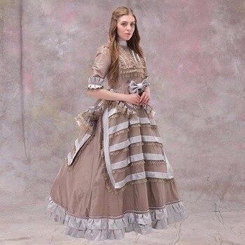 1860-1868 vestido de baile Europ con cintas vestido de boda gótico victoriano traje de Cosplay de palacio de la corte real Medieval
