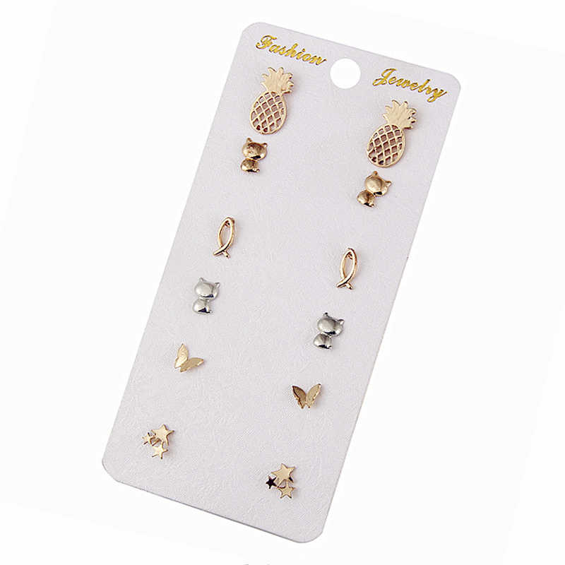 E0203 Fashion Jewelry Cute Earring Sets Gold Color Pineapple Cat Star Butterfly Stud Earring For Women Wholesale Birthday Gift