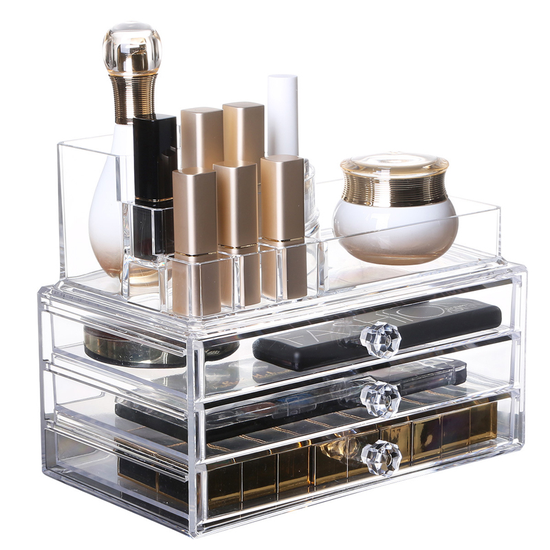 New Clear Acrylic Makeup Organizer Desktop Drawers Casket Makeup Storage Drawer Box Lipstick Holder Cosmetic Organizer
