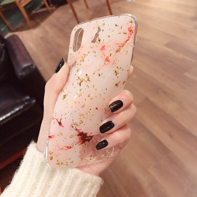 Bling Gold Foil Marble Phone Case For iPhone