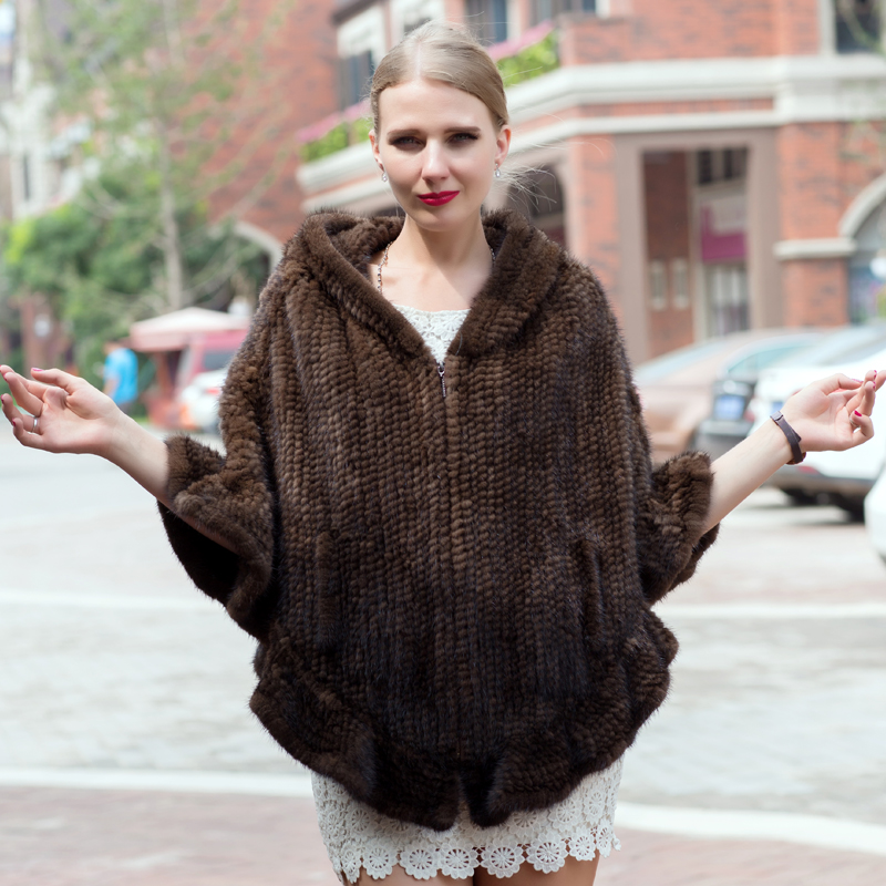 2018 Fashion Women Fur Shawl Winter Knitted Real Mink Fur Stole With Fur Hood Knitted Mink
