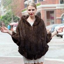 Модная женская меховая шаль, Зимняя вязанная шаль из натурального меха норки, палантин с меховым капюшоном, вязаное Норковое пончо из пашмины
