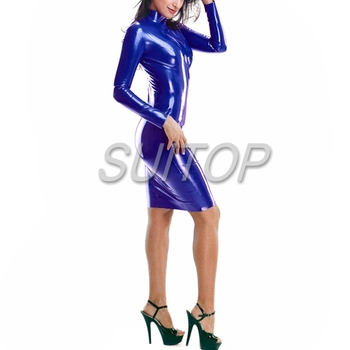 rubber latex blue dresses sexy style for adult long sleeves sexy customize