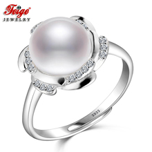 Fashion 925 Sterling Silver Pearl Ring for Women High Quality 9-10MM White Freshwater Rings Fine Jewelry Lady Gifts FEIGE