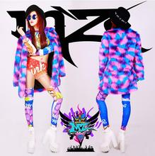 Free shipping Nightclubs singer Women DJ Europe 2ne1 rosy red shiny blue and purple Fashion fur coat costumes B080