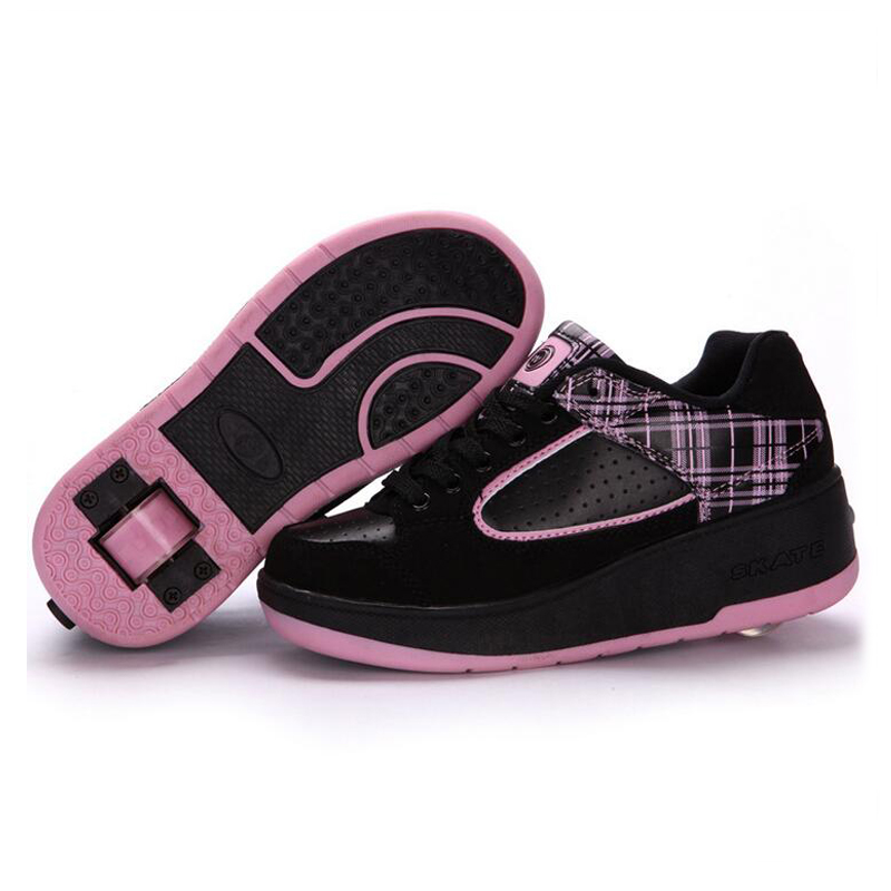 New Kids Shoes 2017 Sport Boy Girls Sneakers Children Shoes Wheel  PU Leather ChildrenSneakers with Wheel Kids Skate Roller Shoe children roller sneaker with one wheel led lighted flashing roller skates kids boy girl shoes zapatillas con ruedas