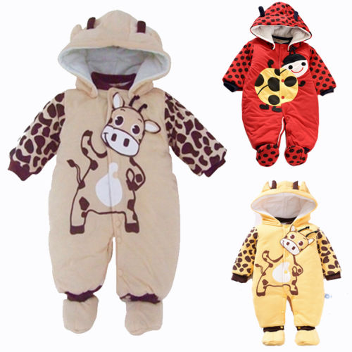 New 2017 Autumn Winter Baby Romper Cotton Padded Newborn Cartoon Animal Hooded Unisex Toddler Clothes new 2014 autumn winter baby