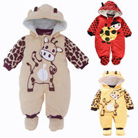 New 2017 Autumn Winter Baby Romper Cotton Padded Newborn Cartoon Animal Hooded Unisex Toddler Clothes