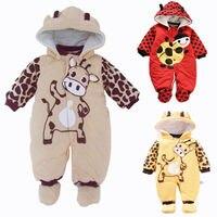 New 2017 Autumn Winter Baby Romper Cotton Padded Newborn Cartoon Animal Hooded Unisex Toddler Clothes