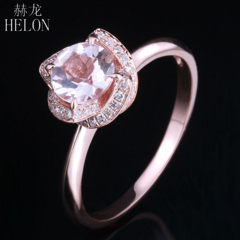 HÉLON 6.5mm Ronde 0.65ct Rose Morganite 0.16ct Pave Diamants de Fleur Femmes Anneau Solide 10 k Or Rose de Fiançailles Anneau de mariage