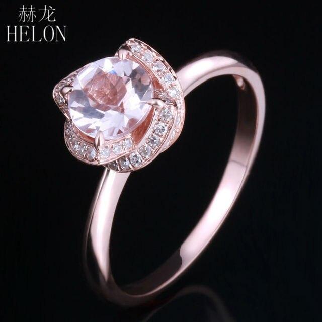HELON 6.5mm Round 0.65ct Pink Morganite 0.16ct Pave Diamonds Flower Women's Ring Solid 10k Rose Gold Engagement Wedding Ring