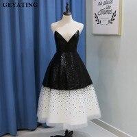 Sparkly Black Sequined White Tulle Short Prom Dresses 2018 Vintage Tea Length Illusion Neckline Robe De