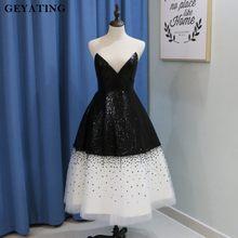 Sparkly Black Sequined White Tulle Short Prom Dresses 2018 Vintage Tea  Length Illusion Neckline Robe de cocktail Party Dress bfcdcc20647f