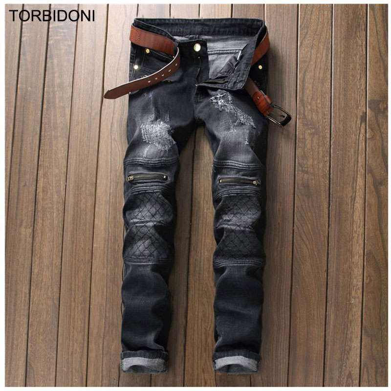 ФОТО Fake Zipper Design Men Scratched Jeans Fashion Denim Black Straight Slim Hole Biker Jeans Personality Patchwork Washed Pants