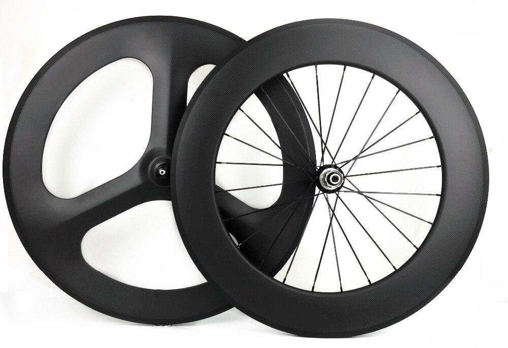 700C full carbon wheels front 3 spokes rear 88mm track road bike 3k matte wheelset clincher