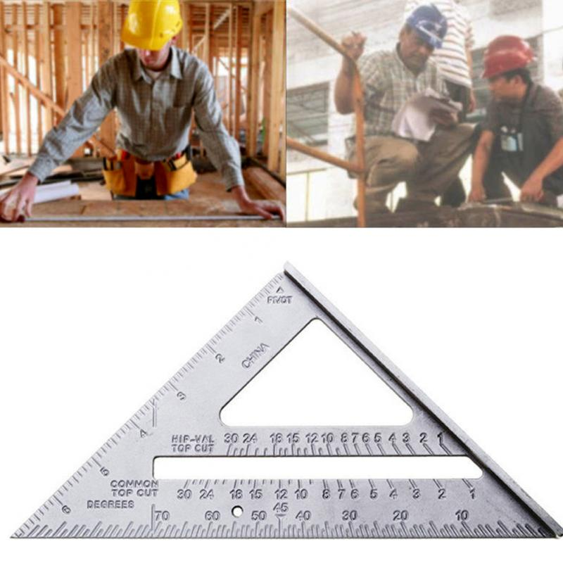 Measuring Tools Ruler 7inch Aluminum Speed Square Roofing Triangle Angle Protractor Try Square Measuring Layout Tool Ruler #06