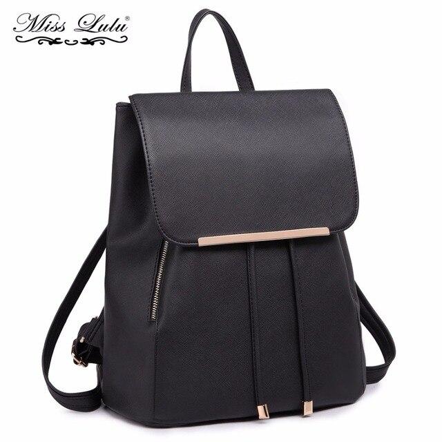 Miss Lulu Women Backpacks School Bags for Teenager Girls Female PU Leather  Shoulder Bag Ladies Fashion 0e963c7d3873e