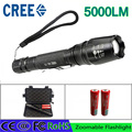 z50 LED Flashlights CREE XM-L T6 zoomable Torch 5000 lumen led torch use 2x18650 batteries aluminum led flashlights