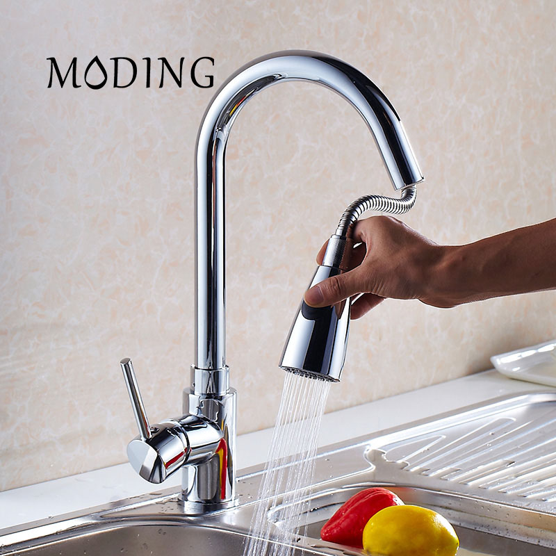 MODING Brass Pull Out Kitchen Sink Tap Kitchen Polishing Faucet Kitchen Faucet Kitchen Sprayer Single Tap